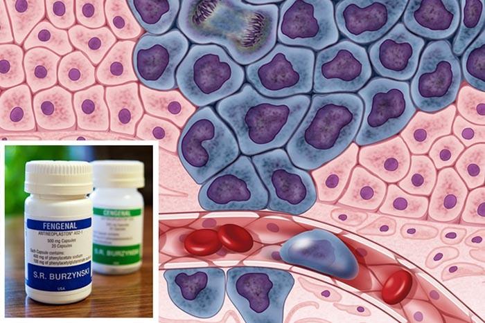 Imagen en grande: ilustración de células cancerígenas. En el recuadro: medicina con Antineoplastones