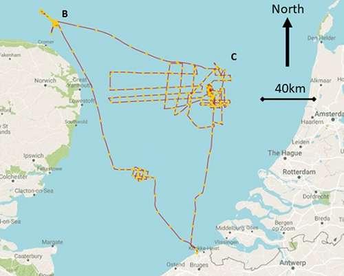 Ruta del barco de investigación que muestra las áreas de estudio detallado alrededor de Doggerland