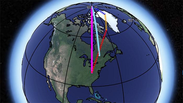 Desplazamiento del eje terrestre según la NASA