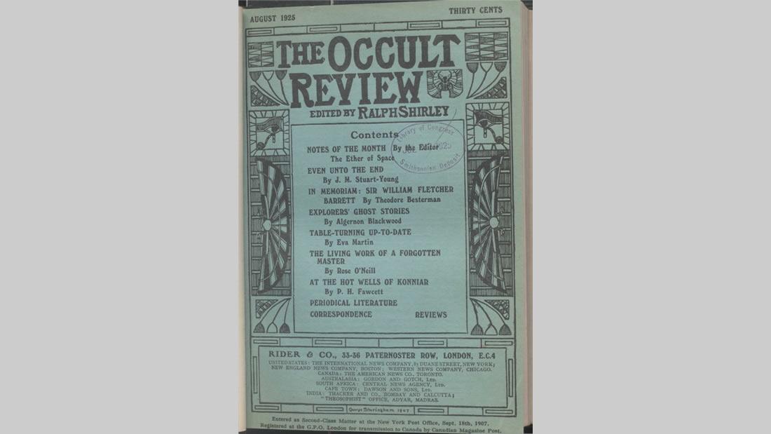 La mítica revista teosófica Occult Review, donde Fawcett escribió, sobre su temprana experiencia mística, en los pozos vinculados a la historia del Ramayana