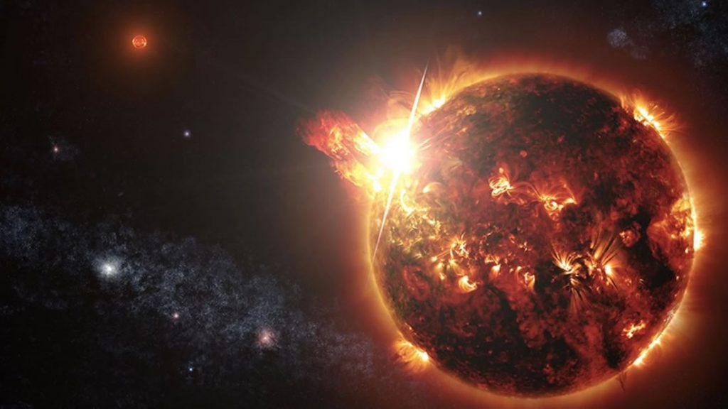 Esta ilustración muestra una eyección de masa coronal (CME) que es expulsada de la superficie de una estrella