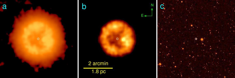 Dos imágenes infrarrojas de la nebulosa, y una imagen óptica, donde no es visible