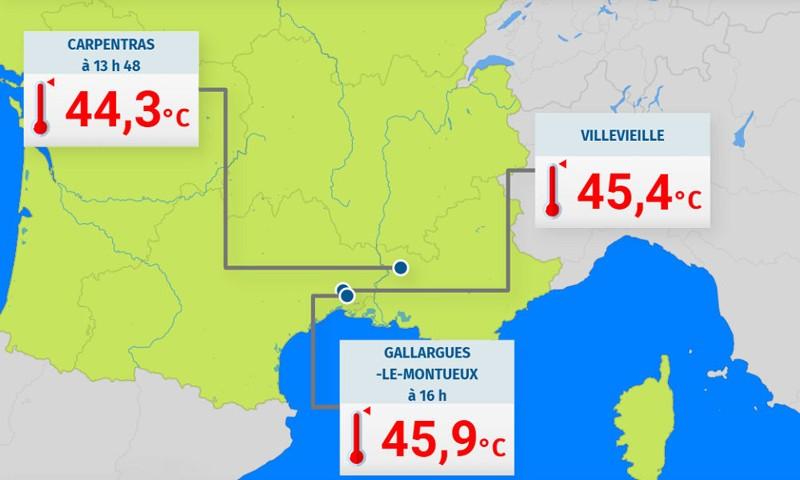 Algunas de las temperaturas más altas registradas en Francia el viernes