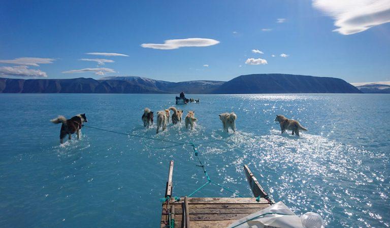 Groenlandia aumentó su temperatura 40 grados en esta semana y esta foto muestra cuán rápido se derrite el hielo