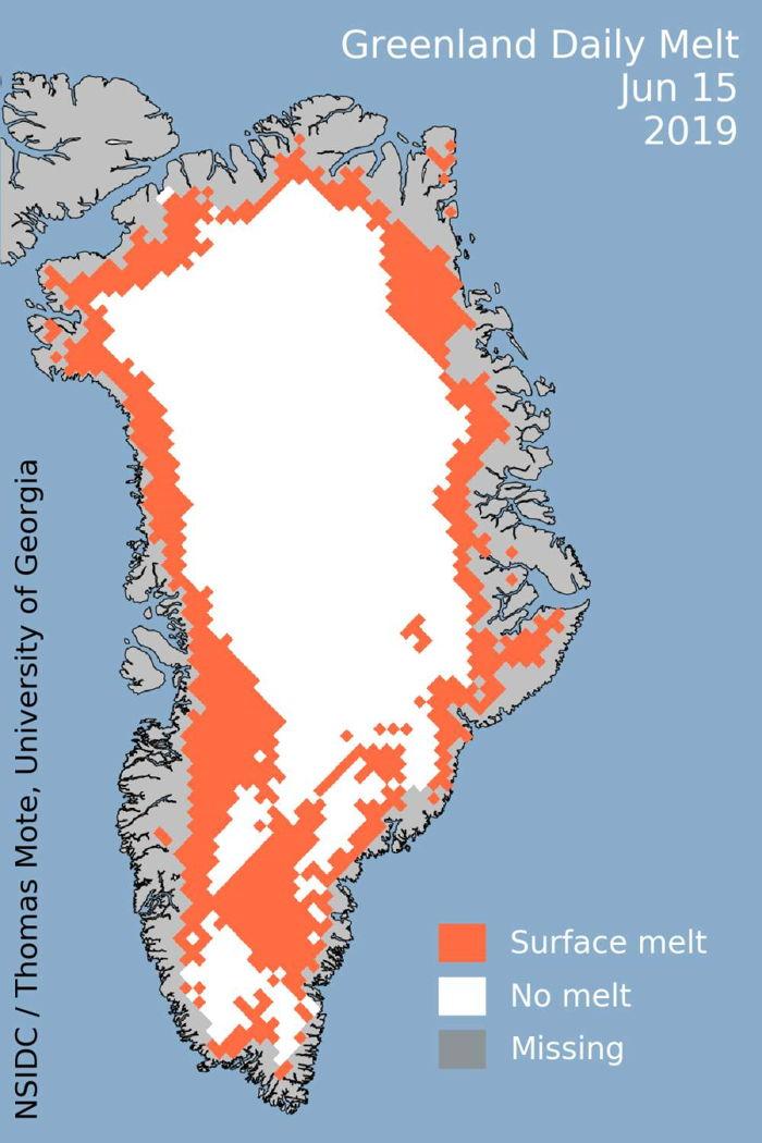 Aproximadamente el 45 por ciento de Groenlandia se estaba derritiendo el 15 de junio