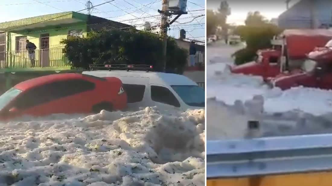 Automóviles sumergidos en el hielo en Guadalajara