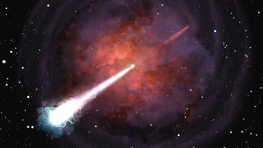 Imagen referencial. Chorro de materia y rayos gamma expulsados tras una fusión de estrellas de neutrones