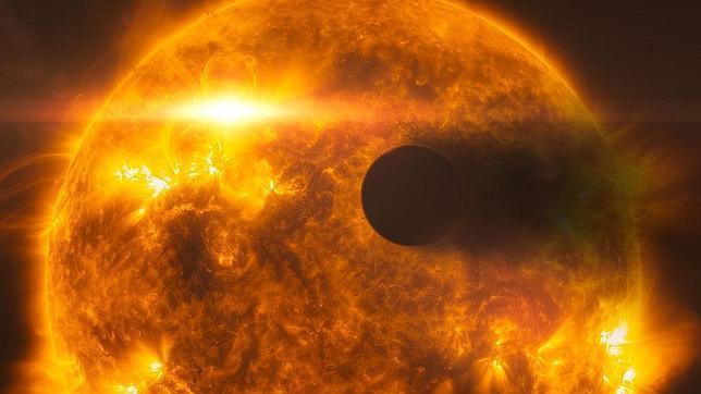 Recreación de cómo una llamarada estelar golpea el planeta HD 189733b