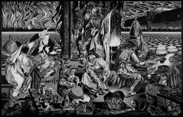El exótico arte de Anatoly Fomenko, que expresa su fascinación por las Matemáticas. Anti-Breughel. Del ciclo: Diálogo con autores del siglo XVI., 1976
