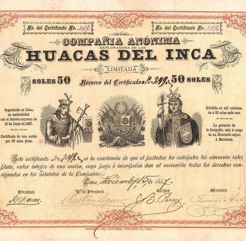Documento que asocia a Augusto R. Berns, con el saqueo de Machu Picchu
