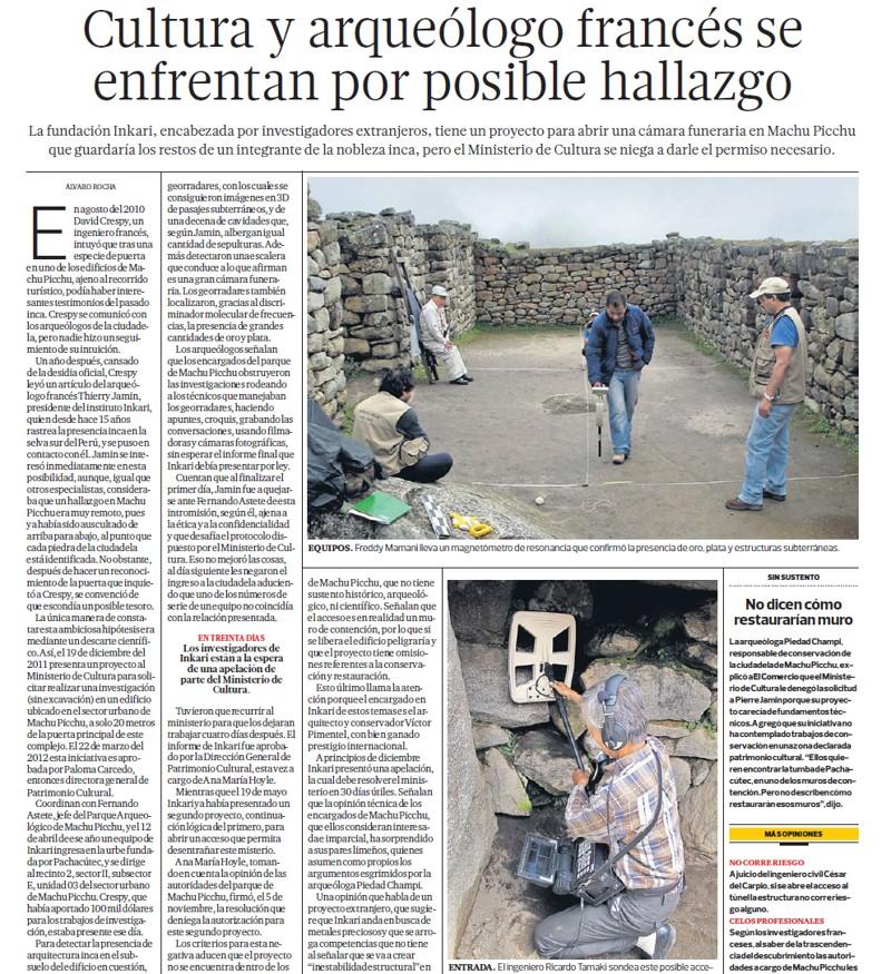 Artículo de 2010, detallando controversia que no cesa, sobre autorizar excavaciones en Machu Picchu