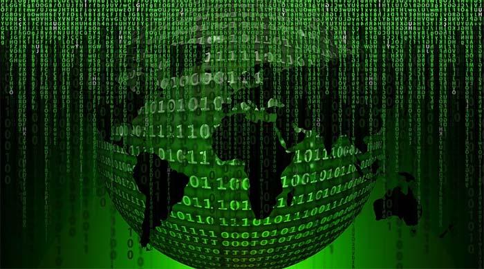 Ilustración de la Tierra configurada en un programa Matrix