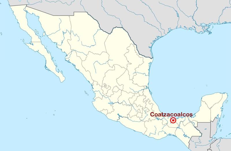 Ubicación de Coatzacoalcos en México