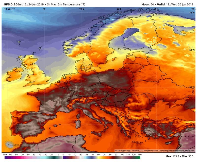 Pronóstico de alta temperatura para Europa el miércoles