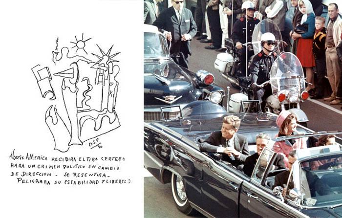Izquierda: dibujo de Parravicini. Derecha: John f. kennedy minutos antes de su asesinato en Dallas