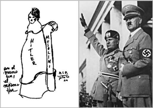 Pictografía sobre Hitler y Mussolini
