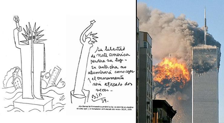Izquierda: psicografía de Parravicini. Derecha: atentado a las Torres Gemelas