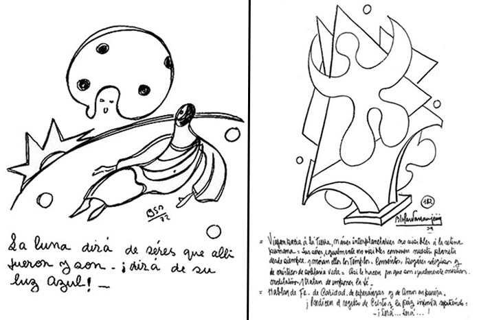 Psicografías sobre seres de la Luna (izquierda) y «naves interplanetarias no visibles a la retina humana» (derecha)