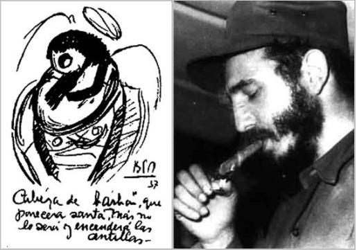 Pictografía sobre «Cabeza de barba» y Fidel Castro