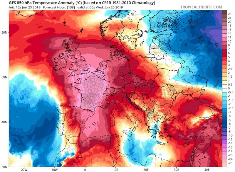 La anomalía de la temperatura en Europa a partir del 26 de junio de 2019