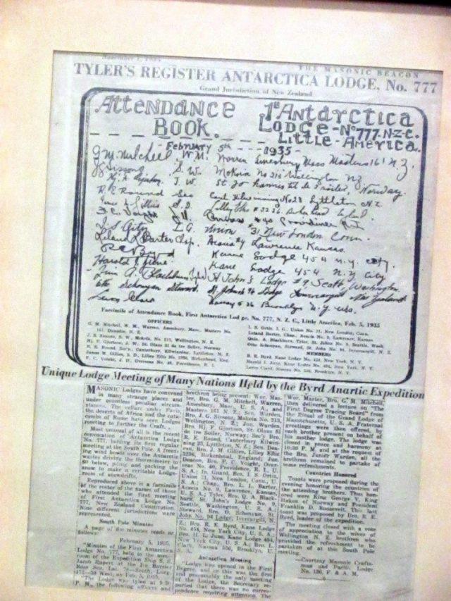 Registro periodístico de 1935, detallando las actividades de la Logia Antártida 777