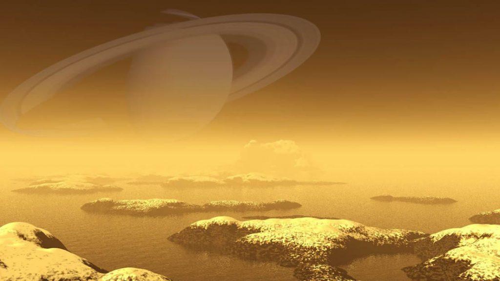 Representación artística de Titán y sus lagos de hidrocarburos