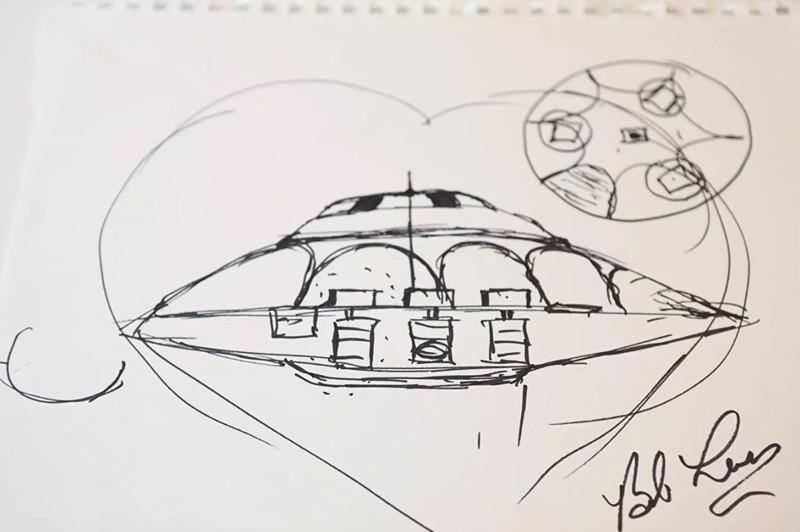 Bob dibujó uno de los nueve discos voladores que dice haber visto en vuelos de prueba