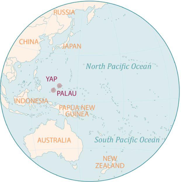 Ubicación de Yap, en Micronesia