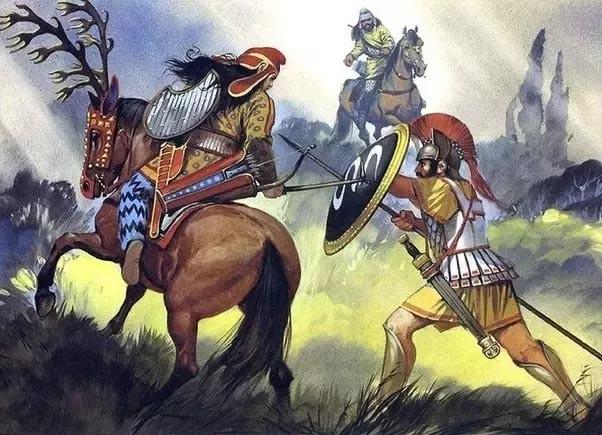 Ilustración de un combate contra una Amazona