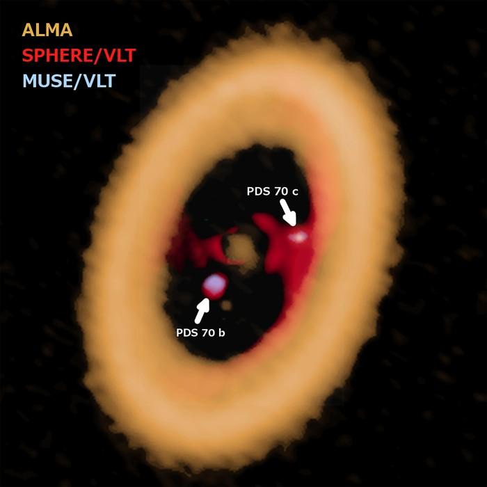 Imagen compuesta del PDS 70. Al comparar los nuevos datos de ALMA con las observaciones anteriores de VLT, los astrónomos determinaron que el joven planeta designado como PDS 70 c tiene un disco circumplanetario, una característica que se cree que es el lugar de nacimiento de las lunas