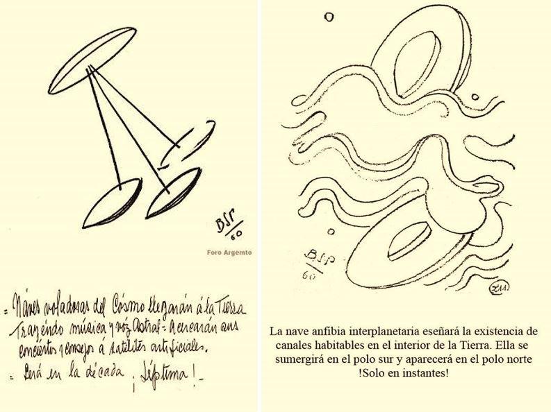 Dos psicografías de Parravicini, haciendo mención a la realidad extraterrestre, datadas de 1960