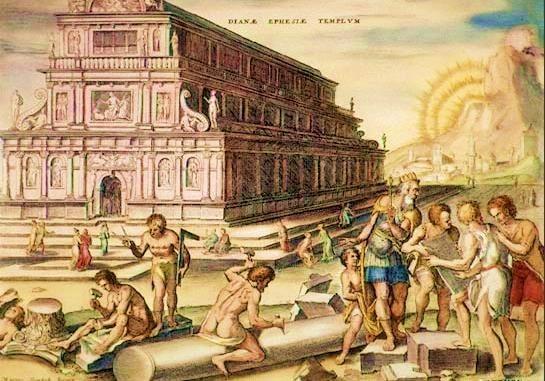 Representación del famoso templo de Artemisa, que fue declarado por sus cronistas, como una de las siete maravillas del mundo