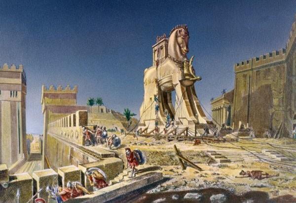 Pintura del Caballo de Troya durante la guerra de Troya, a como se narra en la Ilíada