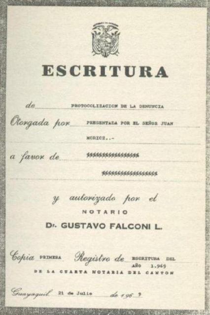 Escritura Notarial, donde Móricz protocolizó su sensacional descubrimiento