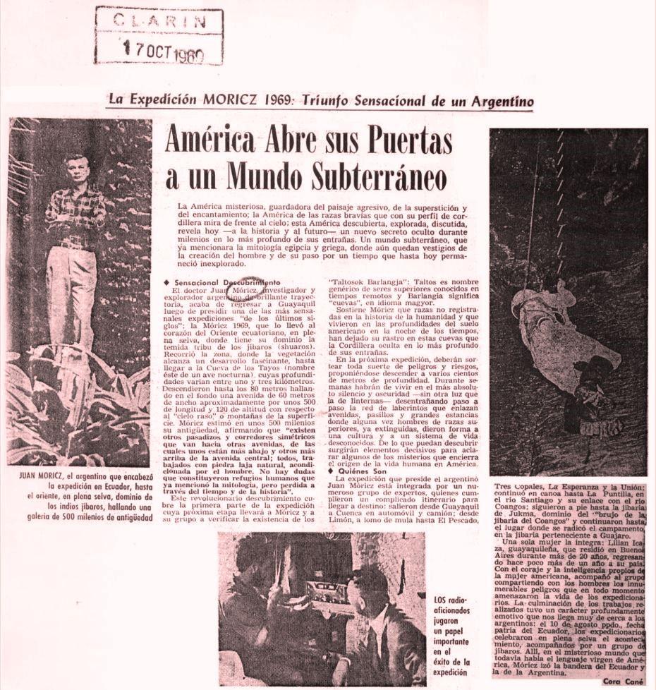 Artículo publicado en un importante medio argentino, el Diario Clarín, 1969