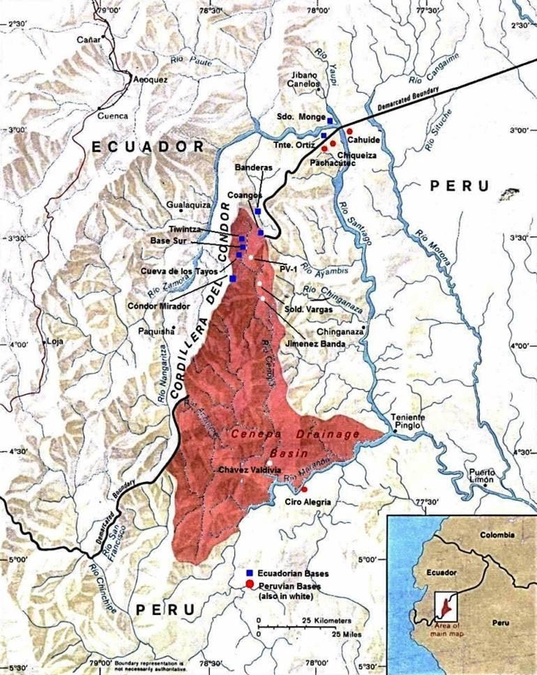 Mapa donde se visualiza la Cueva de Tayos