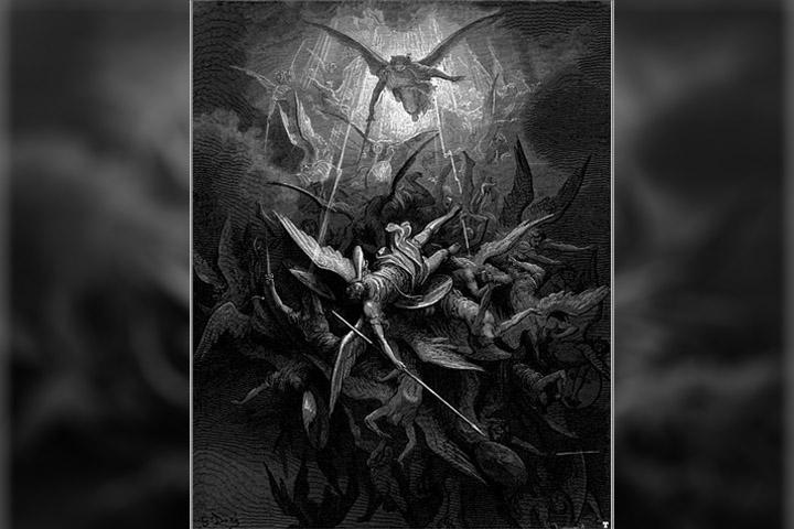 Miguel expulsa a los ángeles rebeldes. Ilustración de Gustave Doré