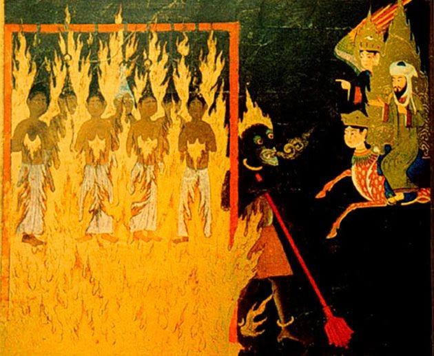 Mujeres en el infierno, quemándose y atravesados sus pechos con garfios, según visión de Mahoma en su visita al infierno, según una ilustración persa del siglo XV