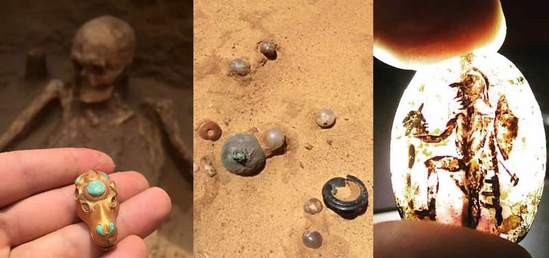 Joyas y artefactos hallados junto con los restos del niño que se encontraba cerca del guerrero