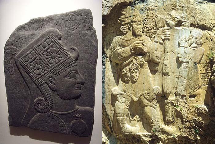 Grabados luvitas. Izquierda: Kubaba, diosa luvita. Derecha: Teshub, una deidad y el rey Warpalawas
