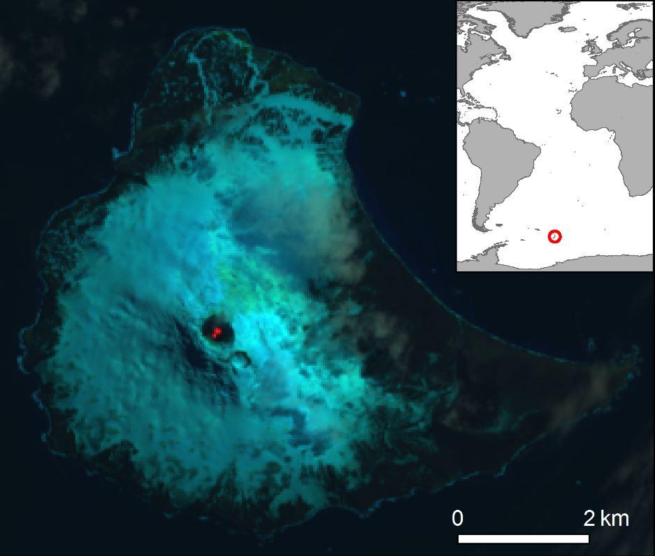 Imagen satelital Landsat 8 de color falso de la isla Saunders y el lago de lava dentro del cráter del Monte Michael (imagen capturada el 31/01/2018). El mapa de inserción muestra la ubicación de la isla Saunders