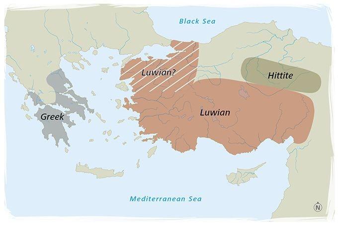 Mapa de la región donde se hablaba el lenguaje luvita en la Edad de Bronce