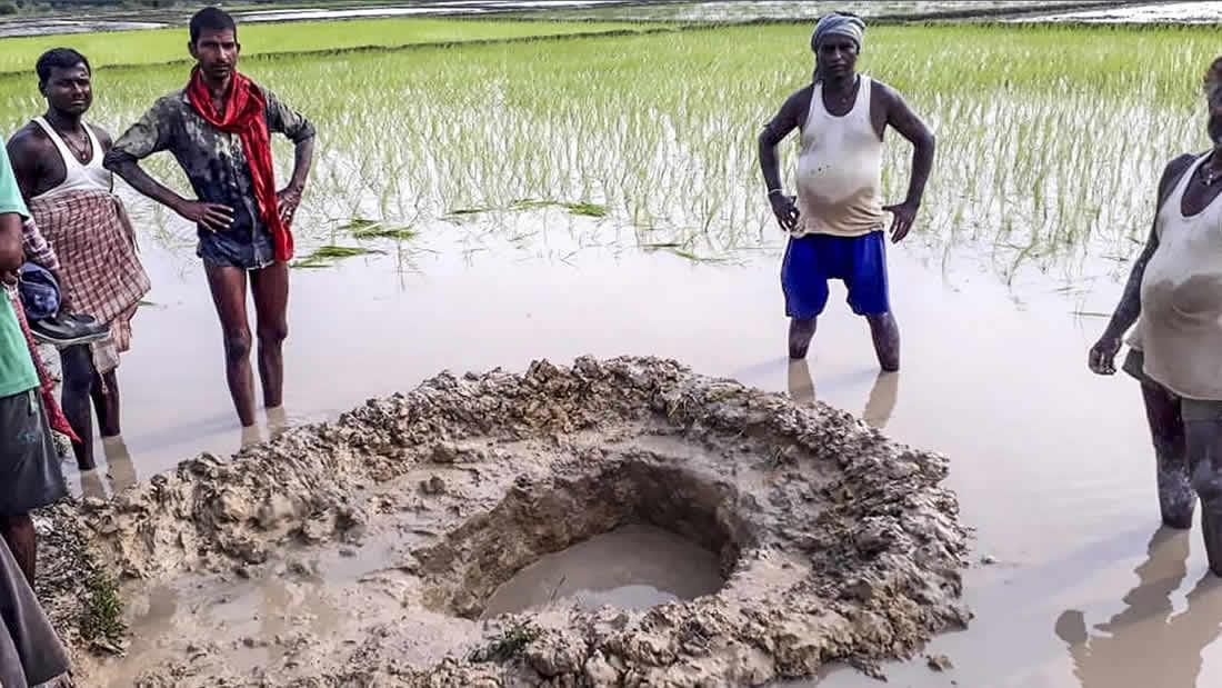 Meteorito impacta un campo de arroz en la India