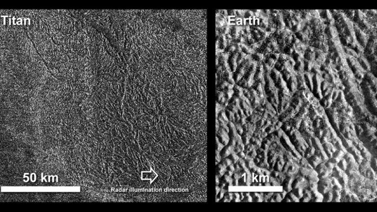 Una imagen del terreno laberíntico de Titán en comparación con un área de cañones en la Tierra. La foto de la Tierra es de la isla de Java en Indonesia, en un área llamada Gunung Kidul
