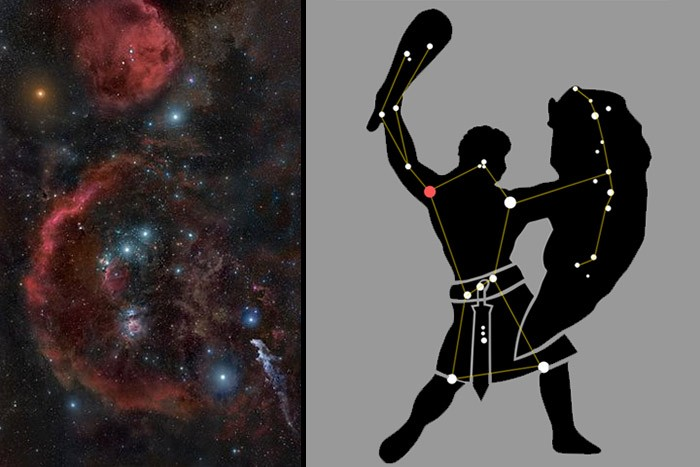 Izquierda: fotografía espacial de Orión. Derecha: ilustración de su estructura