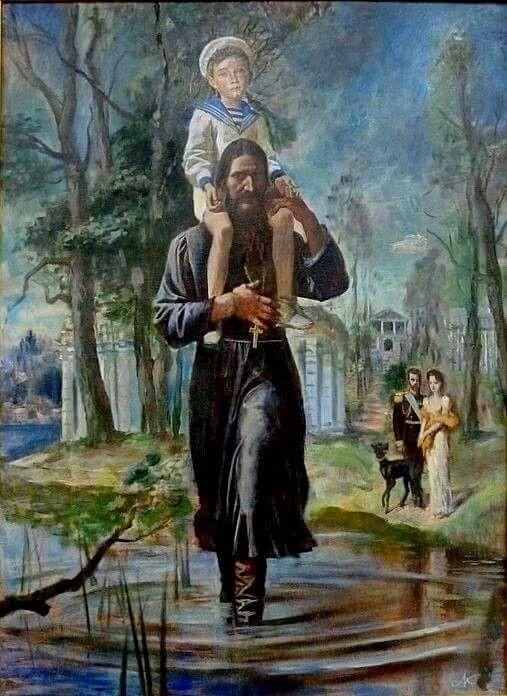 Pintura que retrata a Rasputín, llevando en andas a Tsarevich Alexei Nikolaevich Romanov of Russia
