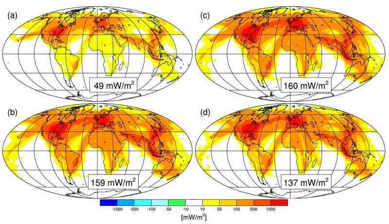 Forzamiento radiativo debido a la formación de estelas para las condiciones climáticas actuales y (a) el volumen actual del tráfico aéreo, y (b) para el volumen del tráfico aéreo previsto para el año 2050