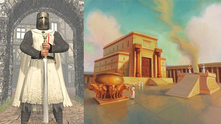 Izquierda: caballero templario. Derecha: Templo de Salomón o Templo de Jerusalén