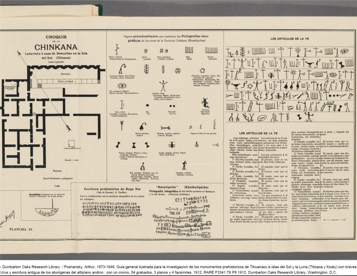 Plano registrado por Arthur Posnansky de la Chinkana de la Isla del Sol, ruinas del Lago Titicaca, donde señala el descubrimiento de una pared, con escritura similar a la de Isla de Pascua