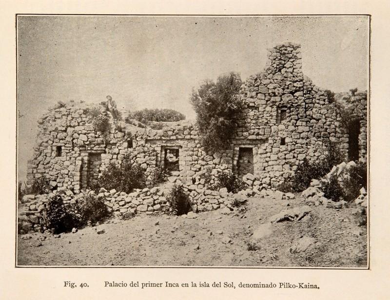 Fotograma de Arthur Posnansky en la Isla del Sol, Lago Titicaca, principios del siglo pasado, cuando realizó su asombroso hallazgo de escritura Tiahuanaco